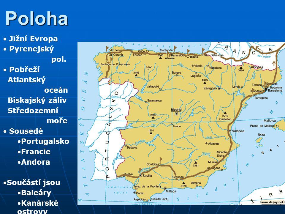 Poloha Jižní Evropa Pyrenejský pol. Pobřeží Atlantský oceán Biskajský záliv Středozemní moře Sousedé Portugalsko Francie Andora Součástí jsou Baleáry