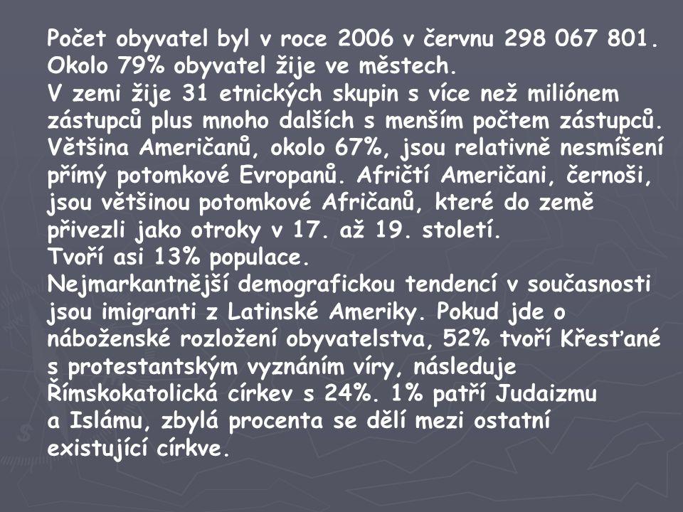 Počet obyvatel byl v roce 2006 v červnu 298 067 801. Okolo 79% obyvatel žije ve městech. V zemi žije 31 etnických skupin s více než miliónem zástupců
