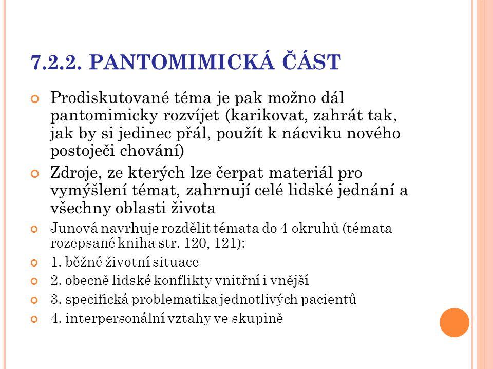 7.2.2. PANTOMIMICKÁ ČÁST Prodiskutované téma je pak možno dál pantomimicky rozvíjet (karikovat, zahrát tak, jak by si jedinec přál, použít k nácviku n