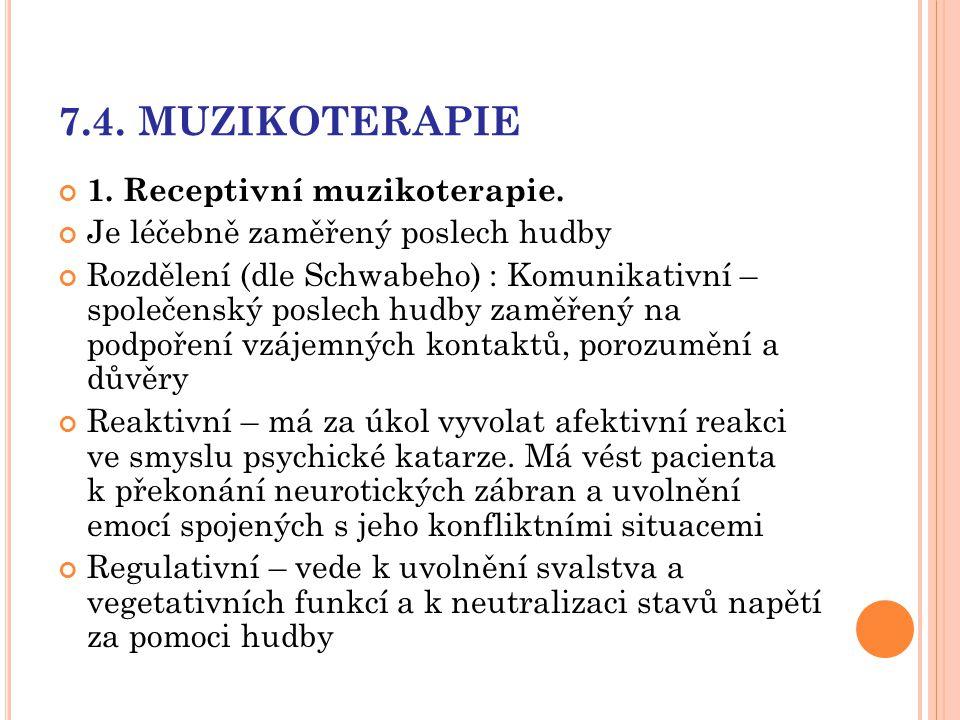 7.4. MUZIKOTERAPIE 1. Receptivní muzikoterapie. Je léčebně zaměřený poslech hudby Rozdělení (dle Schwabeho) : Komunikativní – společenský poslech hudb