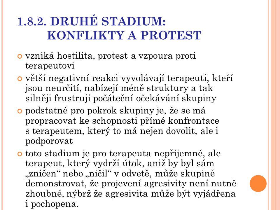 1.8.2. DRUHÉ STADIUM: KONFLIKTY A PROTEST vzniká hostilita, protest a vzpoura proti terapeutovi větší negativní reakci vyvolávají terapeuti, kteří jso