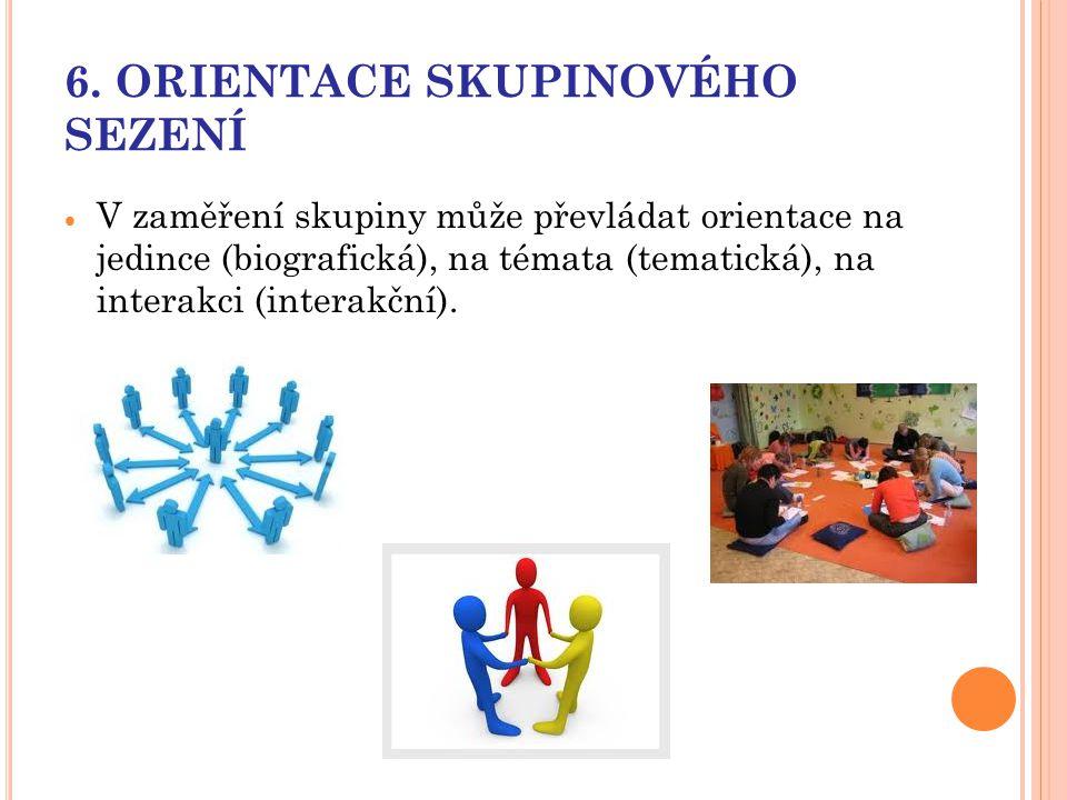 6. ORIENTACE SKUPINOVÉHO SEZENÍ  V zaměření skupiny může převládat orientace na jedince (biografická), na témata (tematická), na interakci (interakčn