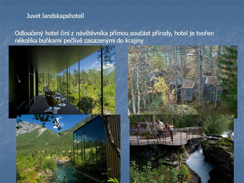 Juvet landskapshotell Odloučený hotel činí z návštěvníka přímou součást přírody, hotel je tvořen několika buňkami pečlivě zasazenými do krajiny