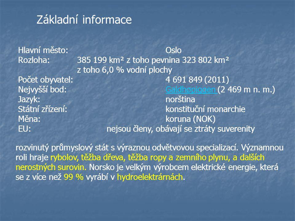 Základní informace Hlavní město:Oslo Rozloha:385 199 km² z toho pevnina 323 802 km² z toho 6,0 % vodní plochy Počet obyvatel:4 691 849 (2011) Nejvyšší