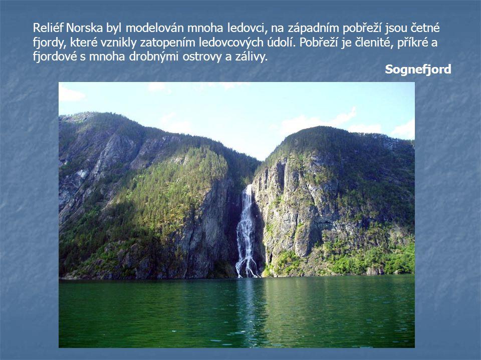 Reliéf Norska byl modelován mnoha ledovci, na západním pobřeží jsou četné fjordy, které vznikly zatopením ledovcových údolí. Pobřeží je členité, příkr
