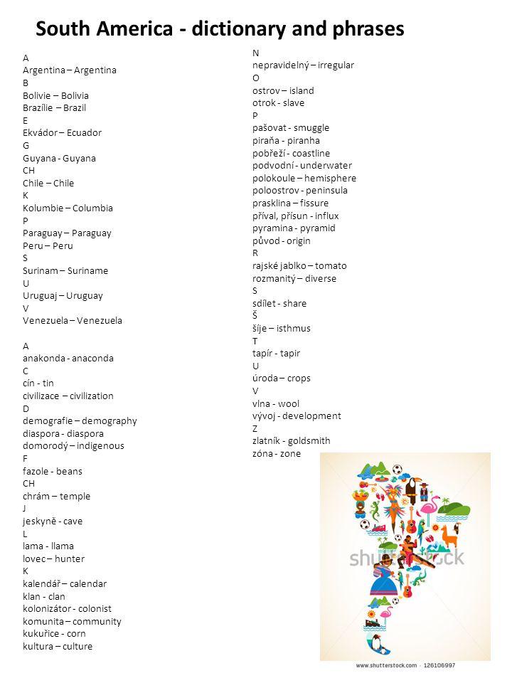 South America - dictionary and phrases A Argentina – Argentina B Bolivie – Bolivia Brazílie – Brazil E Ekvádor – Ecuador G Guyana - Guyana CH Chile –
