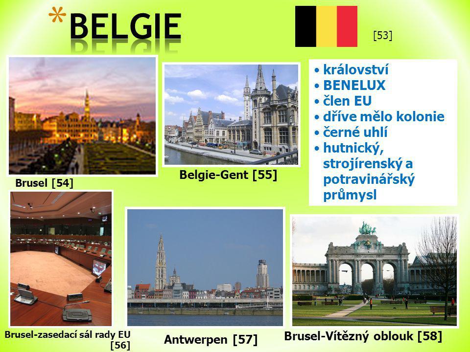 Brusel [54] království BENELUX člen EU dříve mělo kolonie černé uhlí hutnický, strojírenský a potravinářský průmysl Brusel-zasedací sál rady EU [56] Belgie-Gent [55] Antwerpen [57] Brusel-Vítězný oblouk [58] [53]