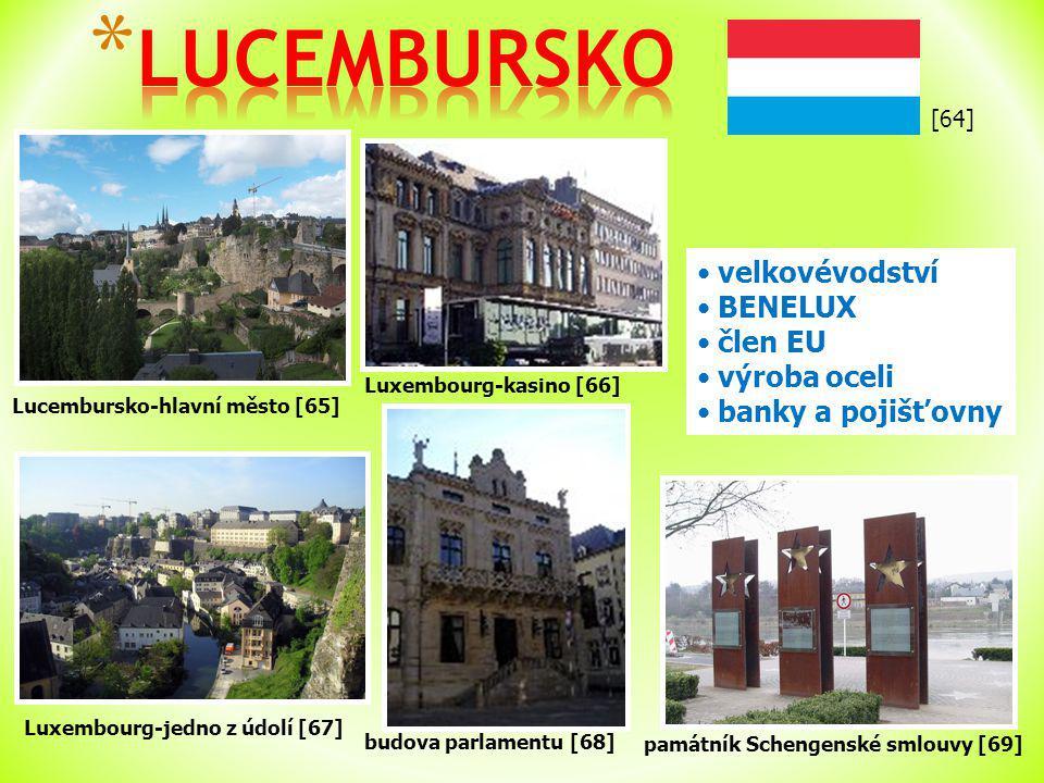 [64] Lucembursko-hlavní město [65] velkovévodství BENELUX člen EU výroba oceli banky a pojišťovny Luxembourg-jedno z údolí [67] Luxembourg-kasino [66] budova parlamentu [68] památník Schengenské smlouvy [69]