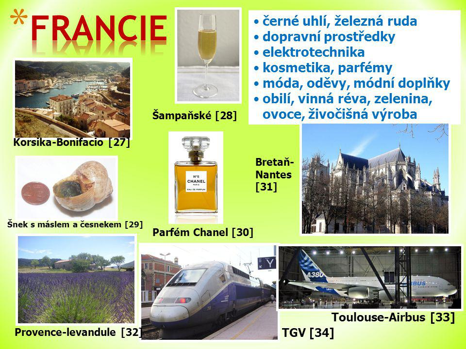 Korsika-Bonifacio [27] TGV [34] černé uhlí, železná ruda dopravní prostředky elektrotechnika kosmetika, parfémy móda, oděvy, módní doplňky obilí, vinná réva, zelenina, ovoce, živočišná výroba Toulouse-Airbus [33] Provence-levandule [32] Parfém Chanel [30] Bretaň- Nantes [31] Šnek s máslem a česnekem [29] Šampaňské [28]