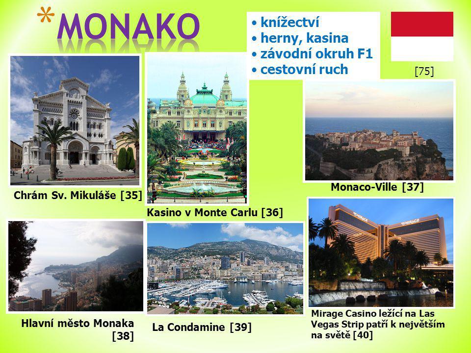 Chrám Sv. Mikuláše [35] knížectví herny, kasina závodní okruh F1 cestovní ruch Hlavní město Monaka [38] Kasino v Monte Carlu [36] Monaco-Ville [37] La