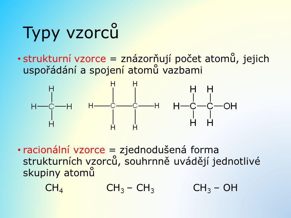 Typy vzorců strukturní vzorce = znázorňují počet atomů, jejich uspořádání a spojení atomů vazbami racionální vzorce = zjednodušená forma strukturních