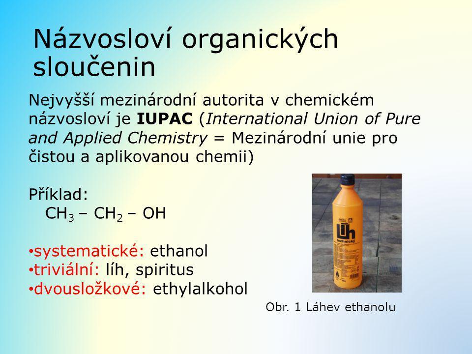 Názvosloví organických sloučenin Nejvyšší mezinárodní autorita v chemickém názvosloví je IUPAC (International Union of Pure and Applied Chemistry = Me
