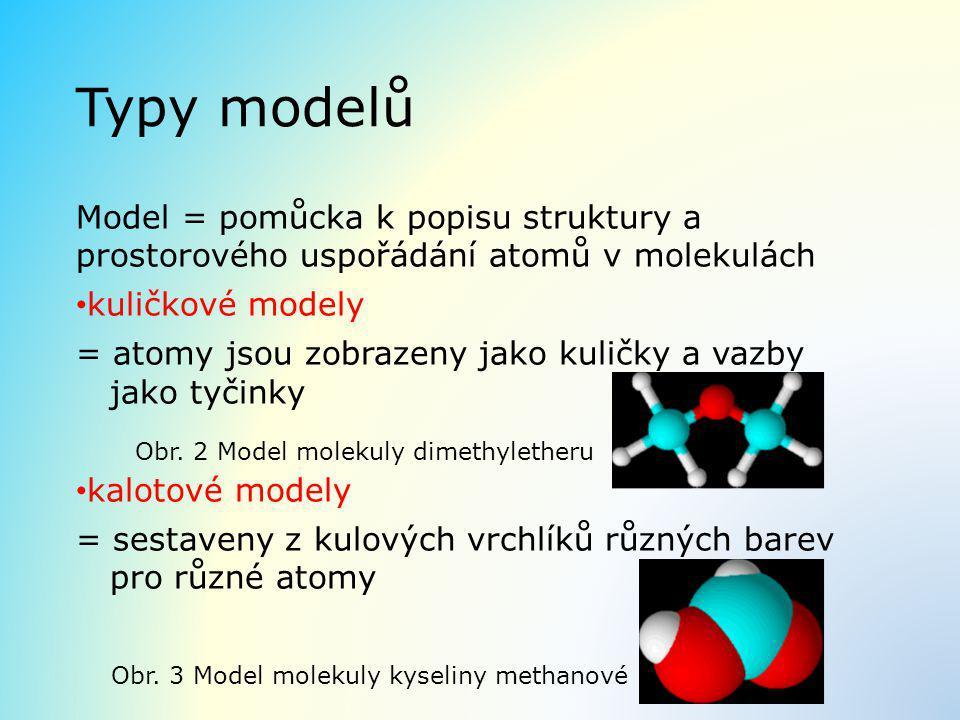 Typy modelů Model = pomůcka k popisu struktury a prostorového uspořádání atomů v molekulách kuličkové modely = atomy jsou zobrazeny jako kuličky a vaz