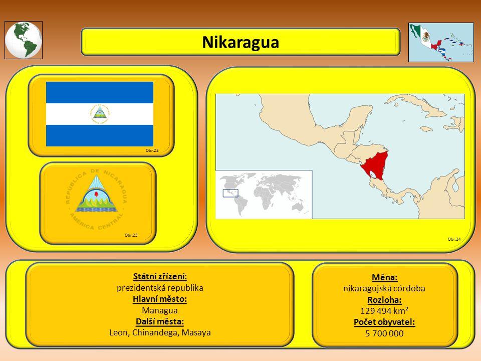 Nikaragua Státní zřízení: prezidentská republika Hlavní město: Managua Další města: Leon, Chinandega, Masaya Obr.22 Obr.23 Obr.24 Měna: nikaragujská córdoba Rozloha: 129 494 km² Počet obyvatel: 5 700 000
