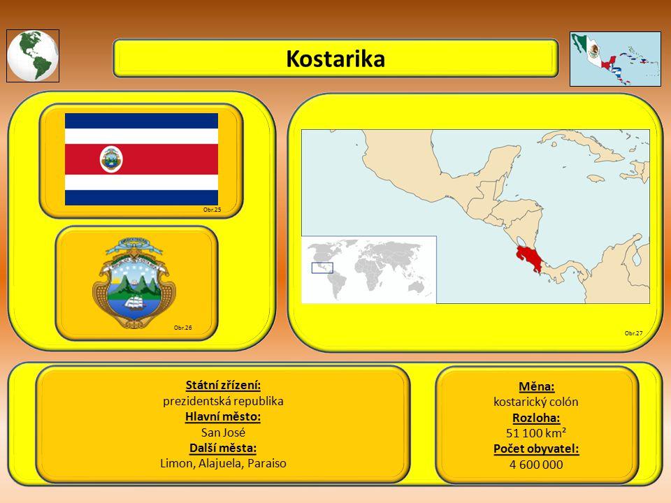 Kostarika Státní zřízení: prezidentská republika Hlavní město: San José Další města: Limon, Alajuela, Paraiso Obr.25 Obr.26 Obr.27 Měna: kostarický colón Rozloha: 51 100 km² Počet obyvatel: 4 600 000