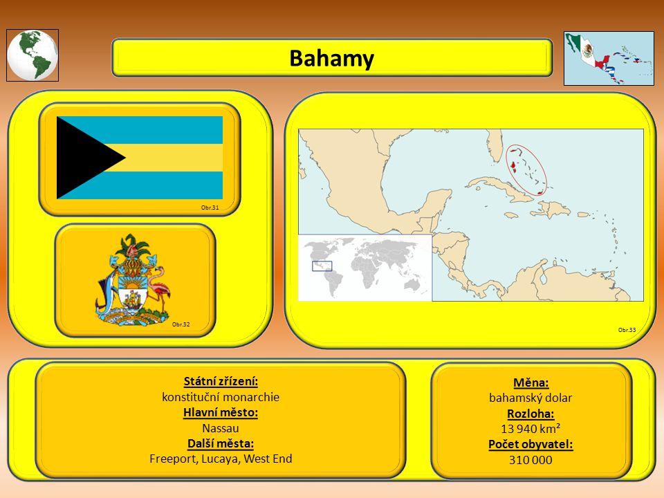 Bahamy Státní zřízení: konstituční monarchie Hlavní město: Nassau Další města: Freeport, Lucaya, West End Obr.31 Obr.32 Obr.33 Měna: bahamský dolar Rozloha: 13 940 km² Počet obyvatel: 310 000