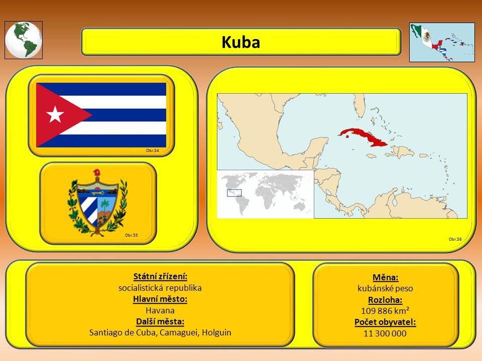 Kuba Státní zřízení: socialistická republika Hlavní město: Havana Další města: Santiago de Cuba, Camaguei, Holguin Obr.34 Obr.35 Obr.36 Měna: kubánské peso Rozloha: 109 886 km² Počet obyvatel: 11 300 000