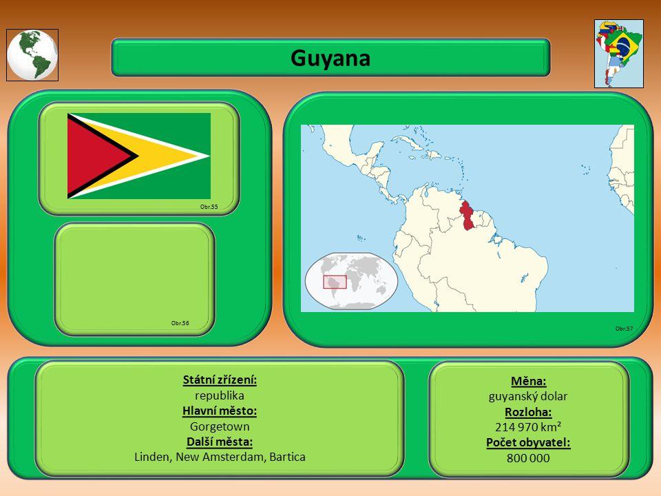 Guyana Státní zřízení: republika Hlavní město: Gorgetown Další města: Linden, New Amsterdam, Bartica Obr.55 Obr.56 Obr.57 Měna: guyanský dolar Rozloha: 214 970 km² Počet obyvatel: 800 000