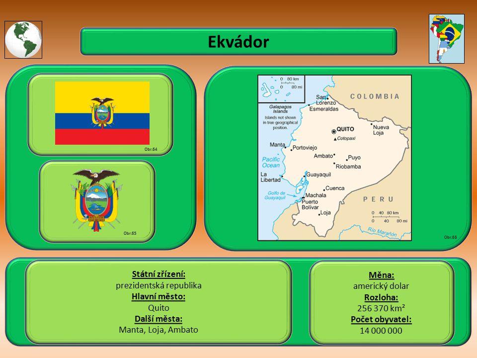 Ekvádor Státní zřízení: prezidentská republika Hlavní město: Quito Další města: Manta, Loja, Ambato Obr.64 Obr.65 Obr.66 Měna: americký dolar Rozloha: 256 370 km² Počet obyvatel: 14 000 000