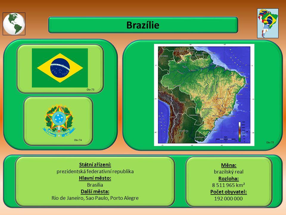 Brazílie Státní zřízení: prezidentská federativní republika Hlavní město: Brasília Další města: Rio de Janeiro, Sao Paulo, Porto Alegre Obr.73 Obr.74 Obr.75 Měna: brazilský real Rozloha: 8 511 965 km² Počet obyvatel: 192 000 000