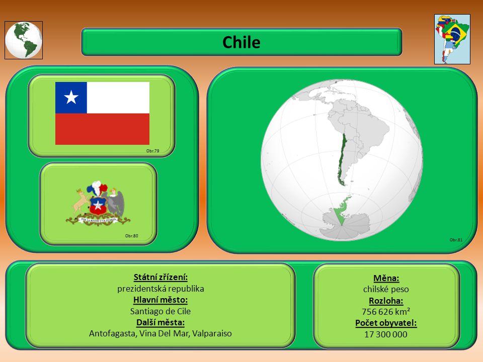 Chile Státní zřízení: prezidentská republika Hlavní město: Santiago de Cile Další města: Antofagasta, Vina Del Mar, Valparaiso Obr.79 Obr.80 Obr.81 Měna: chilské peso Rozloha: 756 626 km² Počet obyvatel: 17 300 000