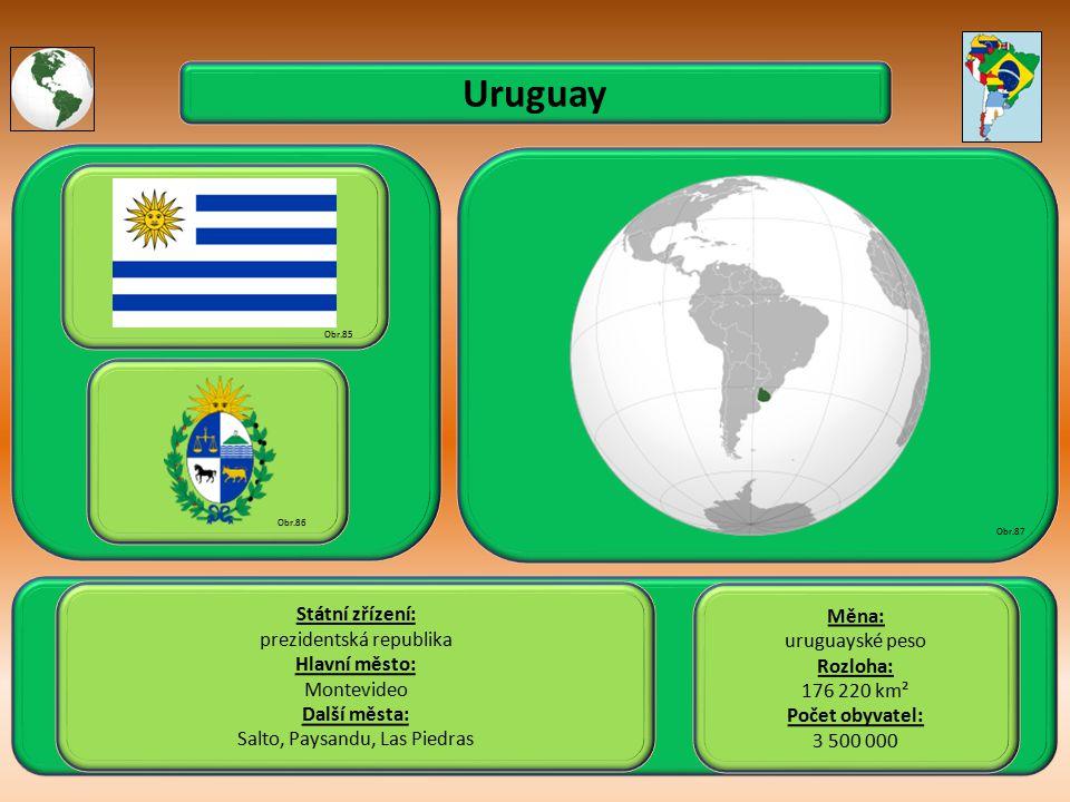Uruguay Státní zřízení: prezidentská republika Hlavní město: Montevideo Další města: Salto, Paysandu, Las Piedras Obr.85 Obr.86 Obr.87 Měna: uruguayské peso Rozloha: 176 220 km² Počet obyvatel: 3 500 000