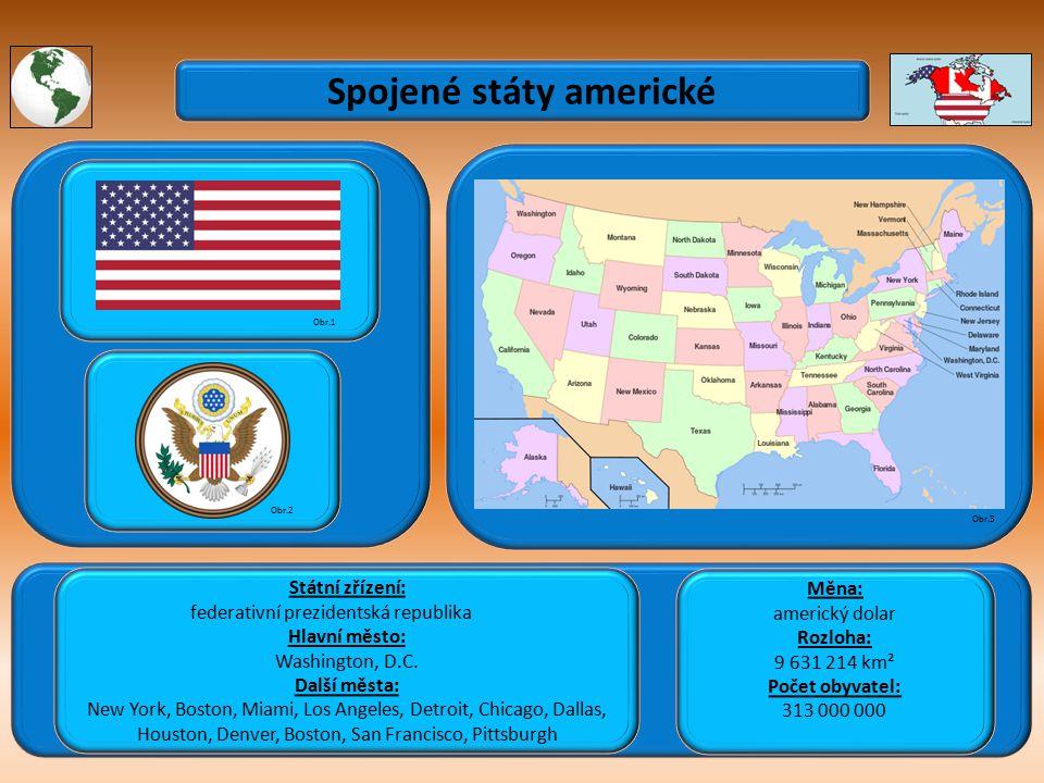 Spojené státy americké Státní zřízení: federativní prezidentská republika Hlavní město: Washington, D.C.