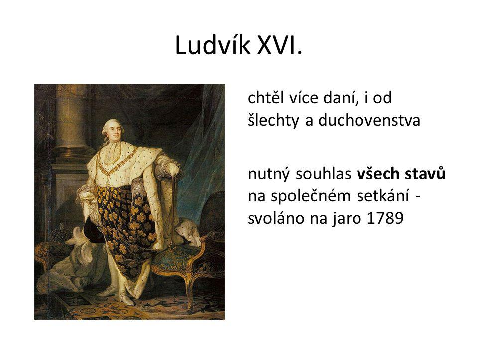 Ludvík XVI. chtěl více daní, i od šlechty a duchovenstva nutný souhlas všech stavů na společném setkání - svoláno na jaro 1789