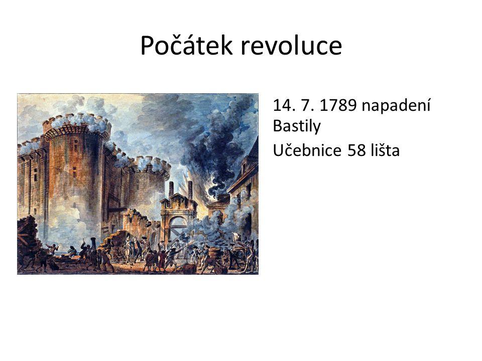 Počátek revoluce 14. 7. 1789 napadení Bastily Učebnice 58 lišta
