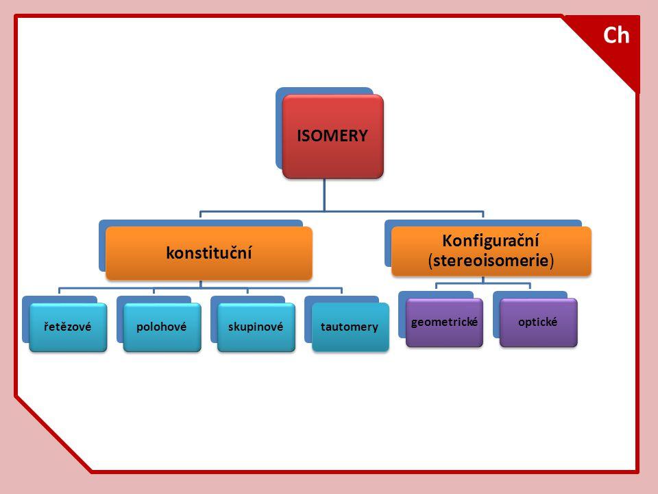 Ch ISOMERY konstituční řetězovépolohovéskupinovétautomery Konfigurační (stereoisomerie) geometrickéoptické