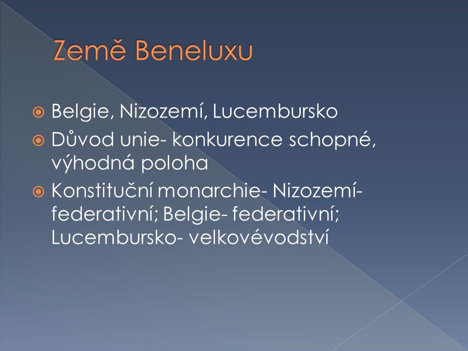 Belgie, Nizozemí, Lucembursko  Důvod unie- konkurence schopné, výhodná poloha  Konstituční monarchie- Nizozemí- federativní; Belgie- federativní;