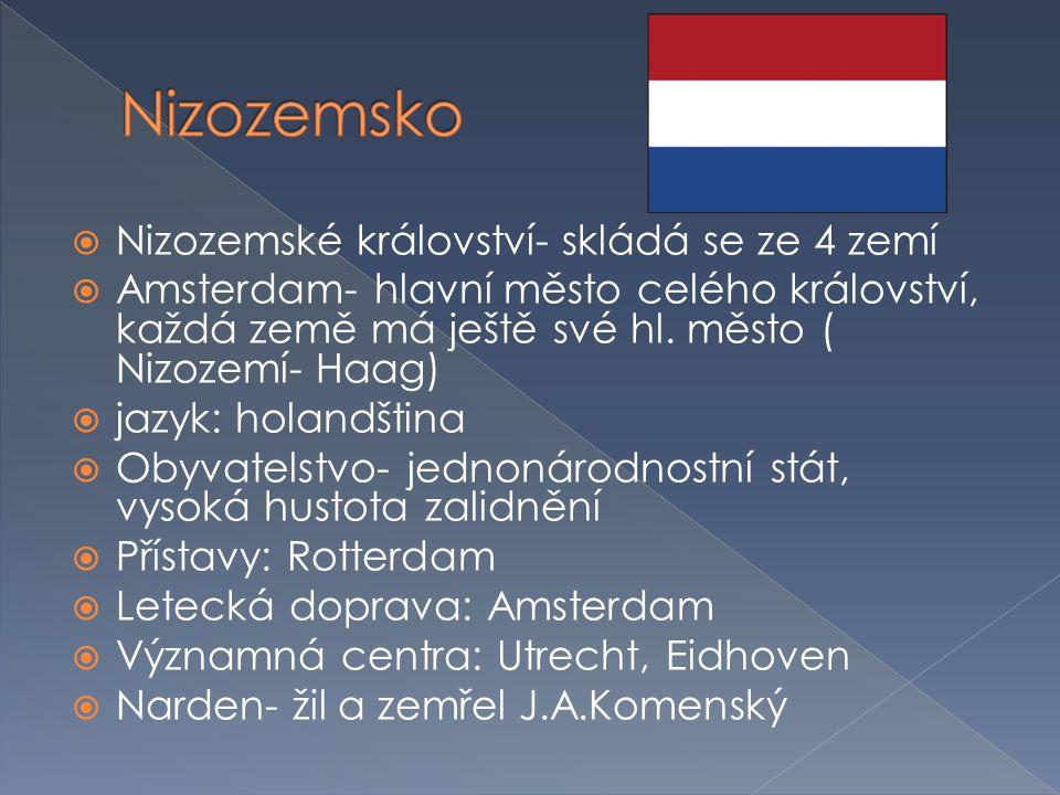  Nizozemské království- skládá se ze 4 zemí  Amsterdam- hlavní město celého království, každá země má ještě své hl. město ( Nizozemí- Haag)  jazyk:
