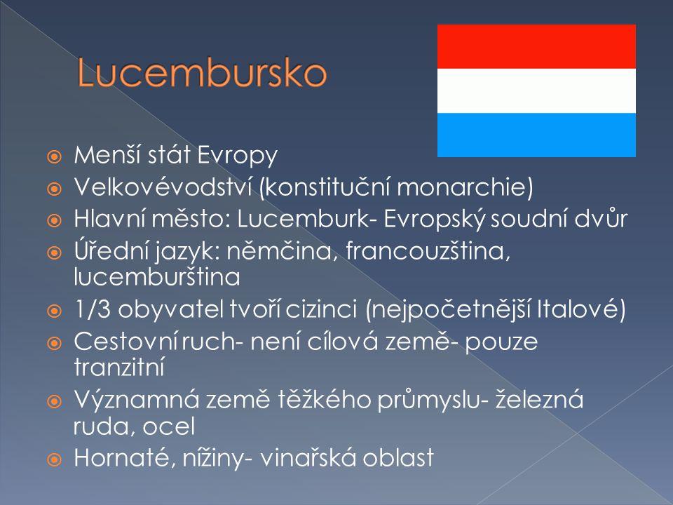  Menší stát Evropy  Velkovévodství (konstituční monarchie)  Hlavní město: Lucemburk- Evropský soudní dvůr  Úřední jazyk: němčina, francouzština, l