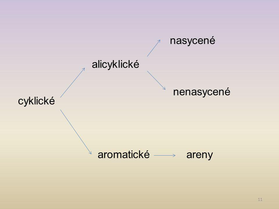 11 alicyklické aromatické nenasycené nasycené areny cyklické