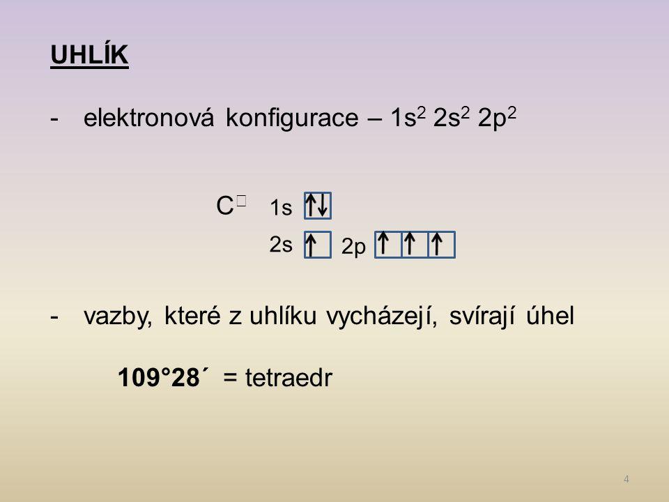 4 1s 2s 2p UHLÍK -elektronová konfigurace – 1s 2 2s 2 2p 2 -vazby, které z uhlíku vycházejí, svírají úhel 109°28´ = tetraedr C