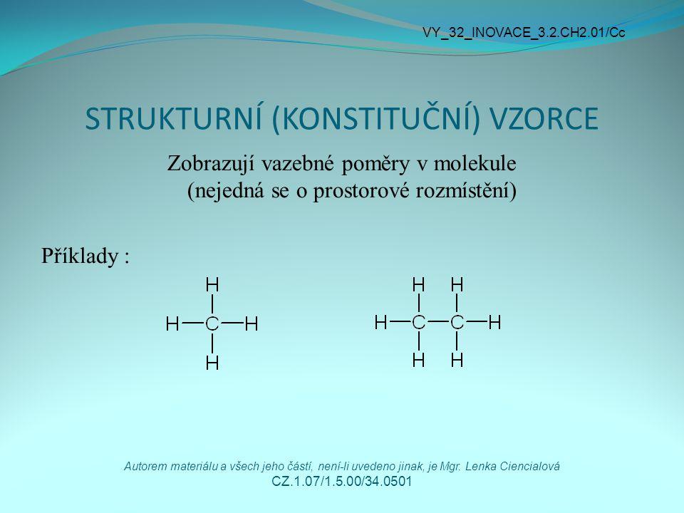 STRUKTURNÍ (KONSTITUČNÍ) VZORCE Zobrazují vazebné poměry v molekule (nejedná se o prostorové rozmístění) Příklady : VY_32_INOVACE_3.2.CH2.01/Cc Autore