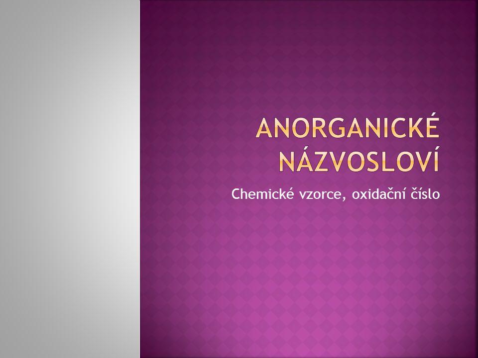 Chemické vzorce, oxidační číslo