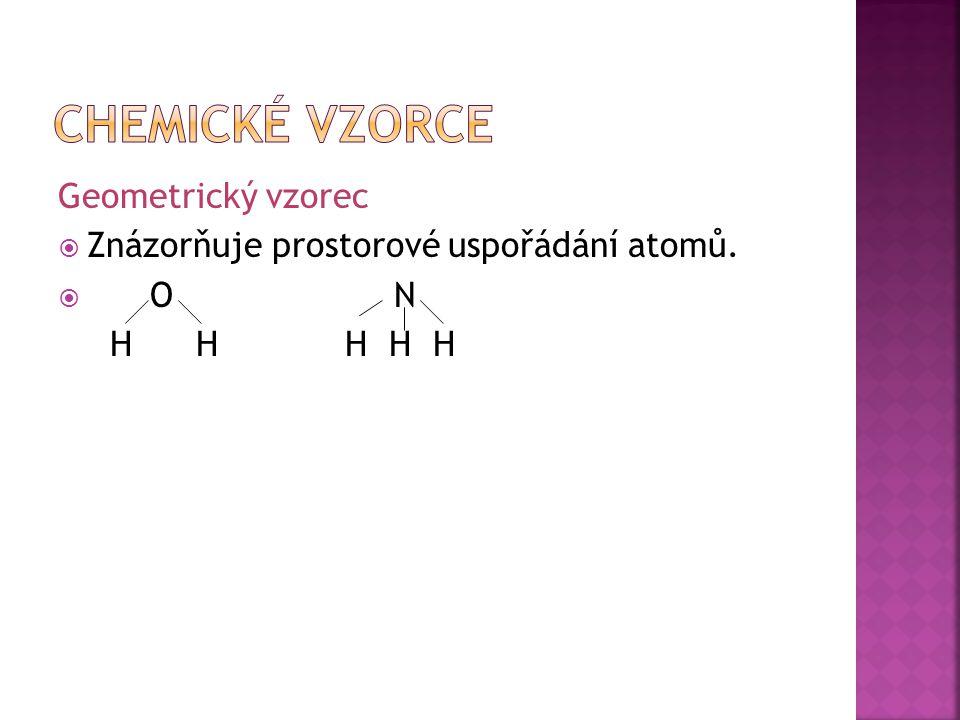 Geometrický vzorec  Znázorňuje prostorové uspořádání atomů.  O N H H H H H