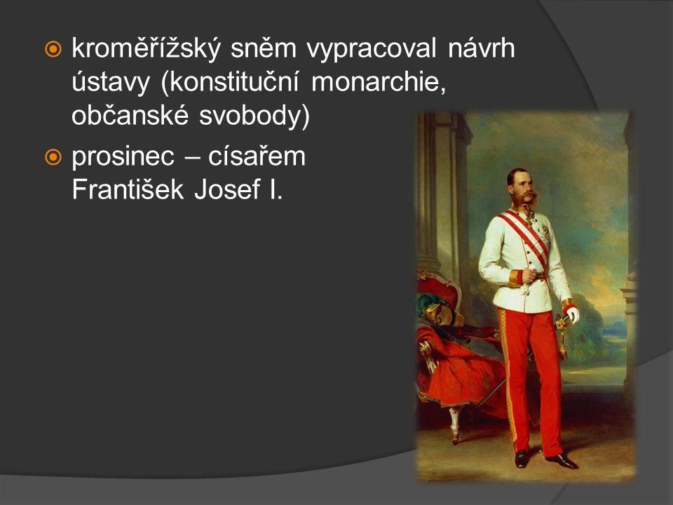  nová vláda (Felix Schwarzenberg) + císař – obnova starých pořádků  březen 1849 – kroměřížský sněm rozehnán vojskem  konec revoluce v Rakousku  revoluce v severní Itálii a v Uhrách (vojenský teror) potlačena