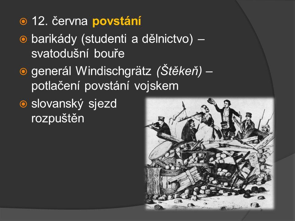  revoluce v Praze (= v českých zemích) poražena  česko-německé napětí se opět vystupňovalo