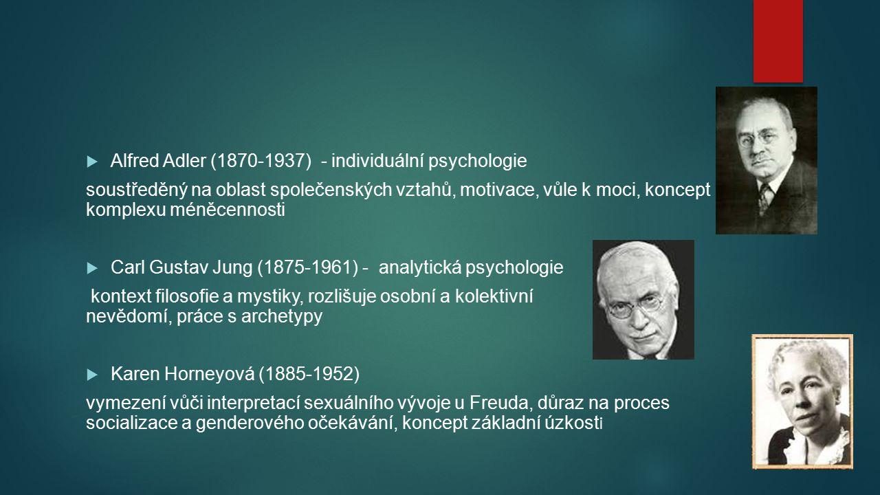 Alfred Adler (1870-1937) - individuální psychologie soustředěný na oblast společenských vztahů, motivace, vůle k moci, koncept komplexu méněcennosti
