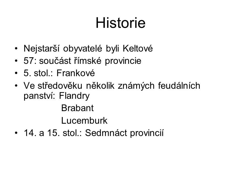 Historie Nejstarší obyvatelé byli Keltové 57: součást římské provincie 5. stol.: Frankové Ve středověku několik známých feudálních panství: Flandry Br