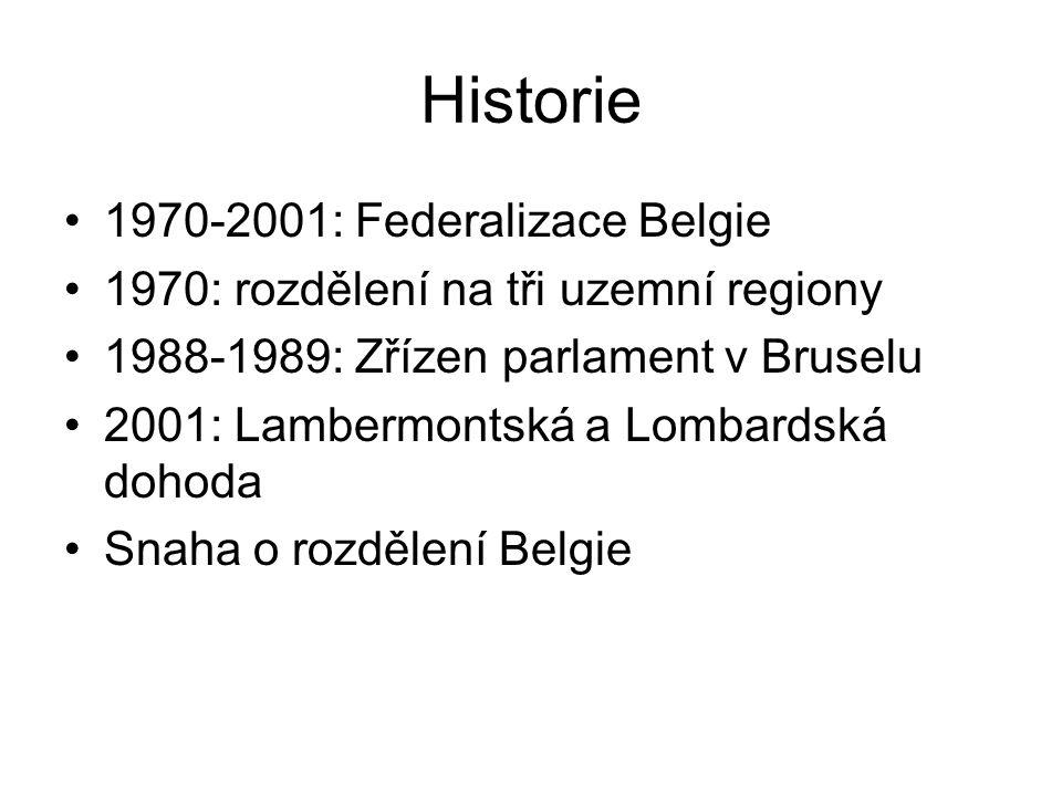 Historie 1970-2001: Federalizace Belgie 1970: rozdělení na tři uzemní regiony 1988-1989: Zřízen parlament v Bruselu 2001: Lambermontská a Lombardská d