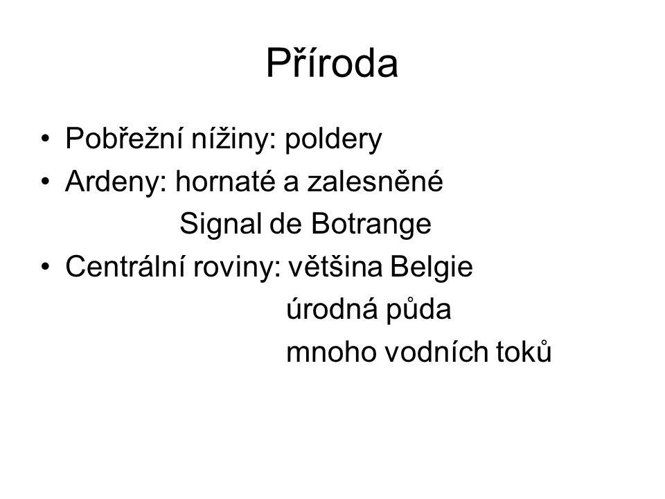 Příroda Pobřežní nížiny: poldery Ardeny: hornaté a zalesněné Signal de Botrange Centrální roviny: většina Belgie úrodná půda mnoho vodních toků