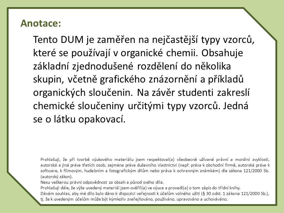 Vzorce organických sloučenin Empirický Molekulový Molekulový (stechiometrický) (souhrnný, sumární) (strukturní) Molekulový (strukturní) : - konstituční - konfigurační - konformační Vzorce organických sloučenin Empirický Molekulový Molekulový (stechiometrický) (souhrnný, sumární) (strukturní) Molekulový (strukturní) : - konstituční - konfigurační - konformační Ch