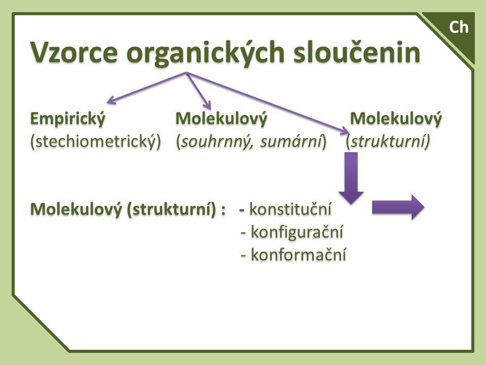 Typy vzorců (prozatímní zjednodušené rozdělení) : Empirický (stechiometrický) Molekulový (sumární, souhrnný) Molekulový (strukturní) Racionální (funkční) Elektronový Prostorový Typy vzorců (prozatímní zjednodušené rozdělení) : Empirický (stechiometrický) Molekulový (sumární, souhrnný) Molekulový (strukturní) Racionální (funkční) Elektronový Prostorový Ch