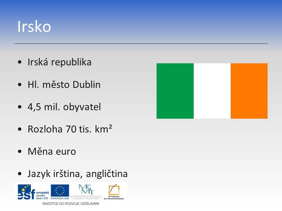 Irsko Irská republika Hl. město Dublin 4,5 mil. obyvatel Rozloha 70 tis. km² Měna euro Jazyk irština, angličtina