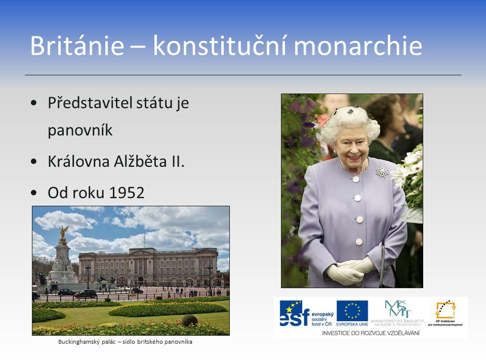 Británie – konstituční monarchie Představitel státu je panovník Královna Alžběta II. Od roku 1952 Buckinghamský palác – sídlo britského panovníka