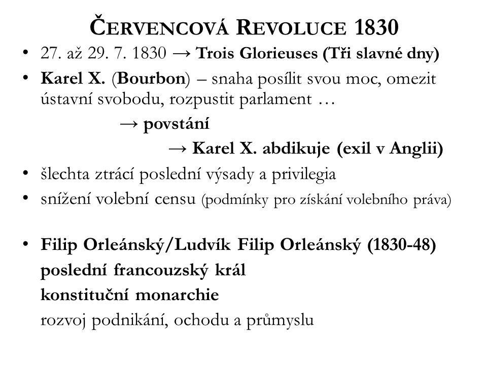 Č ERVENCOVÁ R EVOLUCE 1830 27. až 29. 7. 1830 → Trois Glorieuses (Tři slavné dny) Karel X.