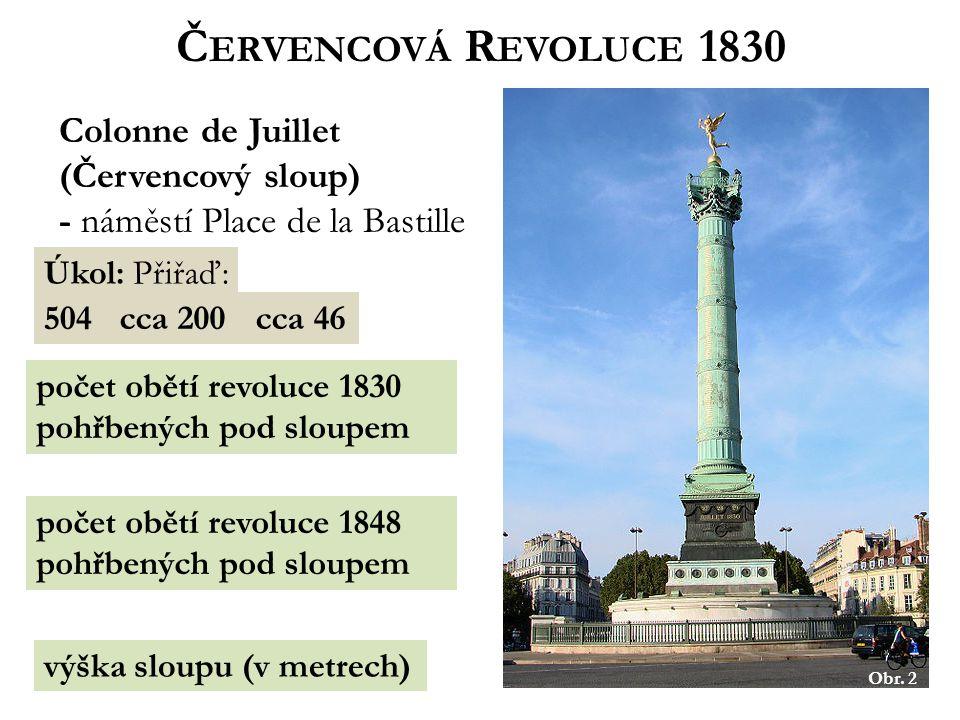 Č ERVENCOVÁ R EVOLUCE 1830 Colonne de Juillet (Červencový sloup) - náměstí Place de la Bastille Úkol: Přiřaď: 504cca 200cca 46 výška sloupu (v metrech) počet obětí revoluce 1830 pohřbených pod sloupem počet obětí revoluce 1848 pohřbených pod sloupem Obr.